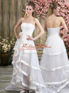 Best White A-line Tulle Off The Shoulder Sleeveless Ruffled Layers and Belt Backless Wedding Gowns Sweep Train