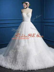 Most Popular Tulle Sleeveless Wedding Dress Court Train and Beading
