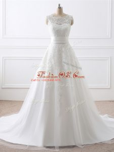 Shining White Zipper Scoop Lace Wedding Dress Tulle Sleeveless Brush Train