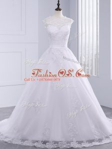 Unique White Sleeveless Lace Clasp Handle Wedding Gown