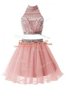 Pretty Pink A-line Organza High-neck Sleeveless Beading Knee Length Zipper Bridesmaid Gown