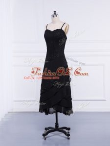 Chiffon Sleeveless Tea Length Mother Of The Bride Dress and Lace and Appliques