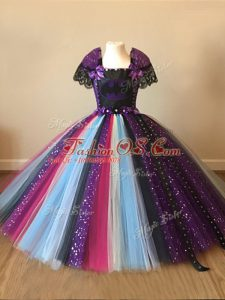 Custom Designed Floor Length Multi-color Little Girls Pageant Gowns Tulle Short Sleeves Sequins and Pattern