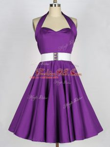 Fashion Sleeveless Belt Lace Up Bridesmaid Dress