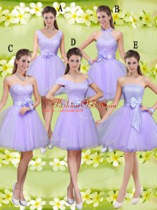 Cute Tulle V-neck Sleeveless Lace Up Lace and Belt Wedding Party Dress in Lilac