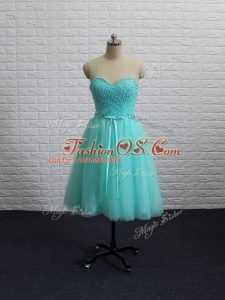 Ideal Sleeveless Lace Up Knee Length Beading and Sashes ribbons Homecoming Dresses