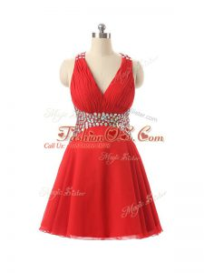 Red Club Wear Prom and Party and Sweet 16 with Beading V-neck Sleeveless Criss Cross