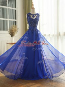 Royal Blue Sleeveless Floor Length Appliques Zipper Prom Dresses