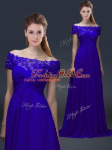 Blue Lace Up Off The Shoulder Appliques Mother Of The Bride Dress Chiffon Short Sleeves