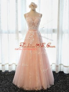 Luxury A-line Evening Dress Peach Scoop Tulle Sleeveless Floor Length Lace Up