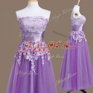 Popular Lavender Sleeveless Tea Length Appliques Lace Up Wedding Guest Dresses