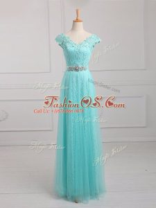 Elegant Aqua Blue Empire V-neck Cap Sleeves Tulle and Lace Floor Length Lace Up Beading and Appliques Mother Of The Bride Dress