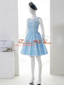 Captivating Baby Blue Sleeveless Tulle Zipper Dama Dress for Prom and Party and Wedding Party
