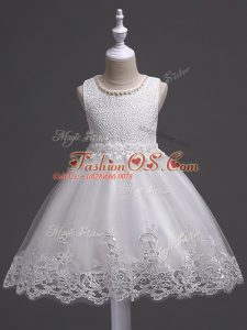 Sleeveless Zipper Knee Length Lace Kids Formal Wear