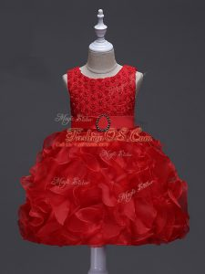 Cute Knee Length Lace Up Little Girls Pageant Dress Red for Wedding Party with Ruffles and Belt
