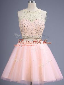 Sleeveless Knee Length Beading Lace Up Wedding Party Dress with Peach