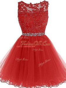 Decent Red Zipper Scoop Beading and Lace and Appliques Homecoming Dress Tulle Sleeveless