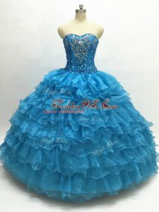 Floor Length Teal 15th Birthday Dress Organza Sleeveless Beading and Ruffles
