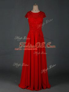Red Chiffon Zipper Mother Of The Bride Dress Cap Sleeves Floor Length Beading