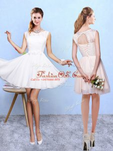 Graceful White A-line Lace and Appliques Vestidos de Damas Lace Up Chiffon Sleeveless Knee Length