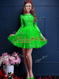 Colorful 3 4 Length Sleeve Chiffon Lace Up Bridesmaids Dress for Prom and Party