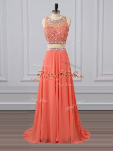 Captivating Chiffon Sleeveless Party Dress Wholesale Brush Train and Beading