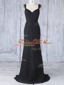 Inexpensive Black Bridesmaid Gown Straps Sleeveless Sweep Train Zipper