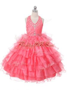 Beading and Ruffled Layers Little Girls Pageant Gowns Coral Red Lace Up Sleeveless Floor Length