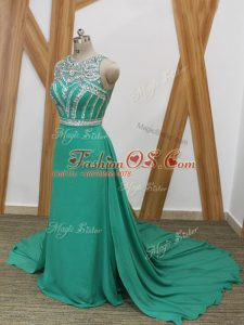 Vintage Sleeveless Chiffon Watteau Train Side Zipper Celebrity Dresses in Turquoise with Beading