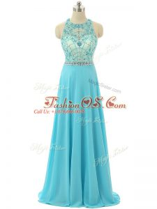 On Sale Sleeveless Floor Length Beading Zipper Party Dress for Girls with Aqua Blue