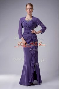 Smart Chiffon Straps Sleeveless Zipper Beading Mother Of The Bride Dress in Purple