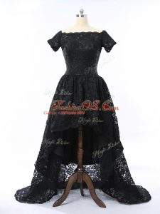 Enchanting Black Lace Zipper Prom Dress Short Sleeves High Low Lace