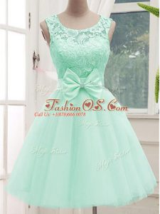 Knee Length Lace Up Wedding Party Dress Apple Green for Prom and Party and Wedding Party with Lace and Bowknot