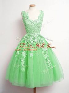 Fancy Lace Bridesmaids Dress Green Lace Up Sleeveless Knee Length