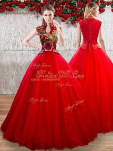 Customized Red Ball Gowns Organza High-neck Short Sleeves Appliques Floor Length Lace Up Vestidos de Quinceanera
