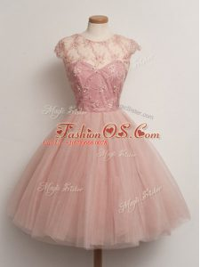 Tulle Cap Sleeves Knee Length Bridesmaid Gown and Lace