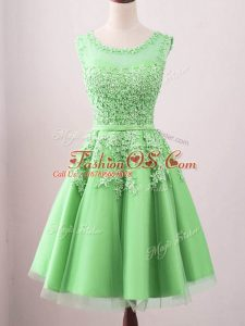 Perfect Knee Length Green Wedding Party Dress Scoop Sleeveless Lace Up