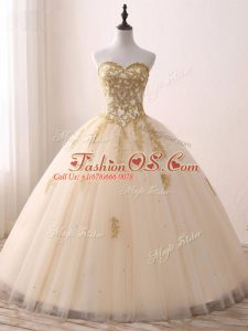 Free and Easy Champagne Tulle Lace Up Sweetheart Sleeveless Floor Length Sweet 16 Dress Beading and Lace and Appliques