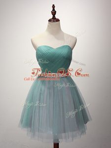 Super Green Sweetheart Neckline Beading and Ruching Court Dresses for Sweet 16 Sleeveless Lace Up