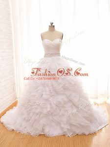 White Ball Gowns Sweetheart Sleeveless Tulle Brush Train Lace Up Beading and Ruffles Wedding Dresses