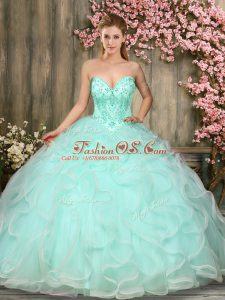Exquisite Sweetheart Sleeveless Lace Up Sweet 16 Dress Apple Green Tulle