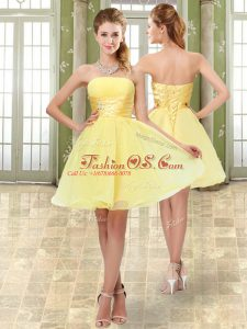 High Class Mini Length Yellow Prom Dresses Organza Sleeveless Beading and Ruching