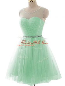 Best Scoop Sleeveless Tulle Party Dress Wholesale Beading and Ruching Lace Up