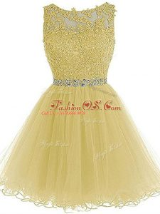 Exceptional Sleeveless Zipper Mini Length Beading and Lace and Appliques Military Ball Gown