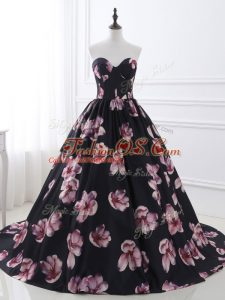Sweetheart Sleeveless Printed Military Ball Gowns Ruching Brush Train Lace Up