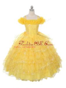 Yellow Ball Gowns Organza Off The Shoulder Sleeveless Ruffles and Ruffled Layers Floor Length Lace Up Little Girl Pageant Dress