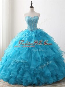 New Arrival Baby Blue Ball Gowns Sweetheart Sleeveless Organza Floor Length Lace Up Beading and Ruffles 15th Birthday Dress