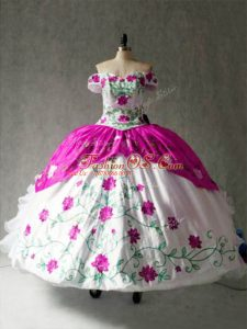 Cheap Cap Sleeves Floor Length Embroidery and Ruffles Lace Up 15 Quinceanera Dress with Multi-color