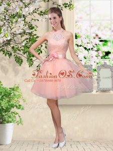 Inexpensive Lace and Belt Wedding Guest Dresses Peach Lace Up Sleeveless Knee Length