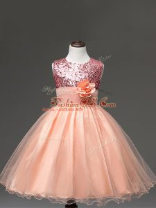 Fancy Tulle Sleeveless Knee Length Pageant Gowns For Girls and Sequins and Hand Made Flower